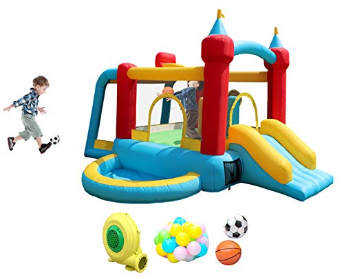 WELLFUNTIME Inflatable Bounce House with Slide, Jumping Castle with Blower and Wave Pool, Basketball Rim, Football Goal