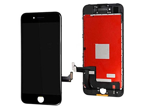 passionTR LCD Screen Replacement Compatible with iPhone 7 4.7 Inch Black Digitizer Assembly Display with Frame Set and Tool Kits