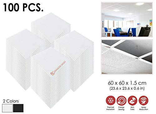 100 Stücke Weiß Thermisch Abgehängte Deckenplattene Schallabsorbierende Feuchtigkeitsfest Fiberglas Akustische Abgehängte Decke Deckenplatten 60 x 60 x 1,5 cm 1174