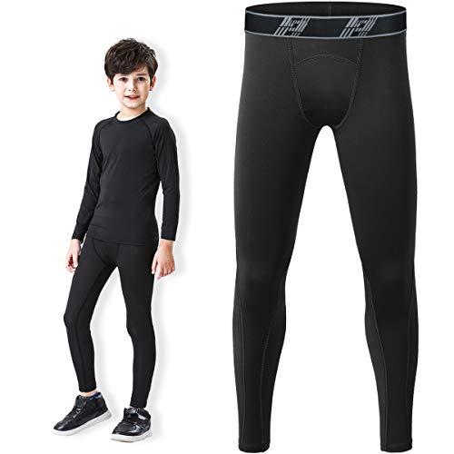 HOPLYNN Jungen Kompressionsleggings Hose Jugendsporthose Schnelltrockende Basisschicht für Basketball Schwarz L