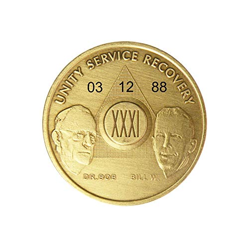 Price comparison product image HPRS 31 Year Personalized Custom Engraved Bill & Bob Founders Edition Antique Bronze AA (Alcoholics Anonymous)-Sober-Sobriety-Birthday-Medallion-Chip-Challenge