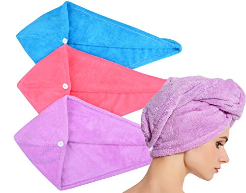 HOPESHINE Hair Towel Twist Women's Soft Shower Towels for Hair Turban Wrap Drying Head Towels Great Gift for Women (Blue+Purple+Rose Red 3-Pack)