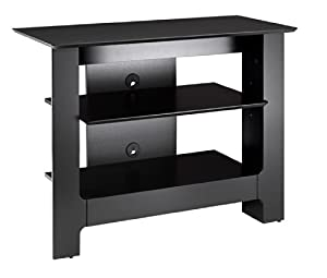 1 adjustable shelf / a total of 2 shelves for electronic components Open concept with easy wire access and air flow 31-inch tall TV Stand, ideal for the bedroom or for smaller rooms. Designed and made in Canada with CARB II/FSC Certified particle boa...