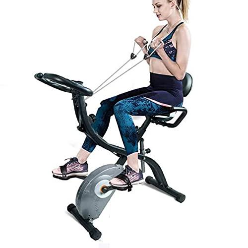 F-Bike Bicicleta estática Plegable para Interiores con Bandas de Resistencia y Monitor cardíaco, Ideal para Ejercicios cardiovasculares Carga Máxima 120 kg