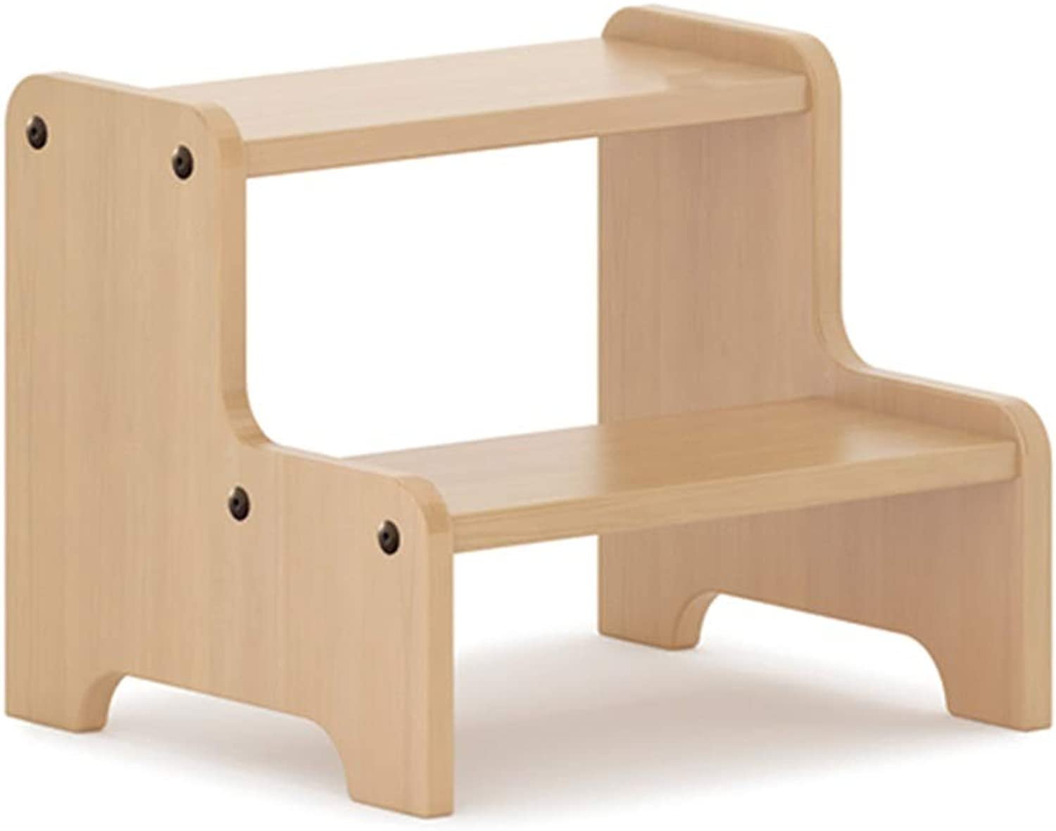 Bookcase Ladders Solid Wood Hand Pad Footstool Pedal Small Bench Home Solid Wood shoes Bench Two Step Bench Climbing Step Ladder Indoor Dual-use Small Horse (color   Beige, Size   30  34  28cm)