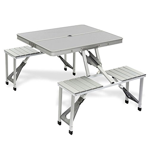 Bo-Camp aluminium picknicktafel/campingtafel 4 zits - 86 x 68 x 41 cm - inklapbaar tot draagkoffer