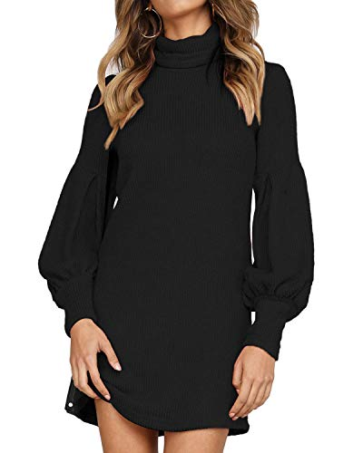 Auxo Vestido Negro a Punto Cuello Alto Suéter Larga Elegante Clásico para Mujer Jerséy para Otoño Invierno B-Negro XL