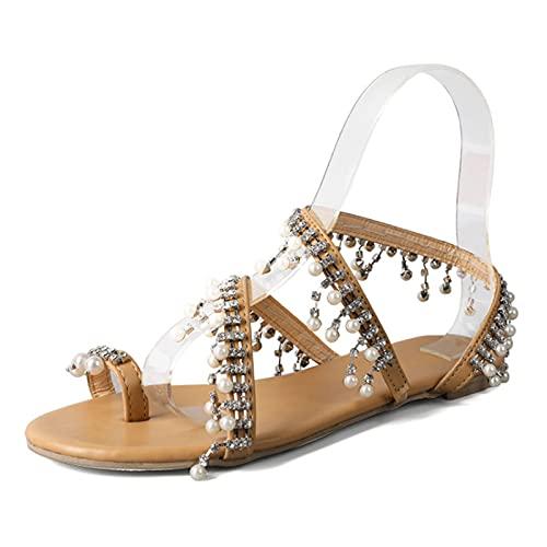 Shhyy Anillo De La Punta De Las Mujeres Sandalias Pearl Flats Bohemian Flip Flop Gladiador Verano Casual Cómodo Zapatos De Playa Largos Paseos O Bodas,Plata,35