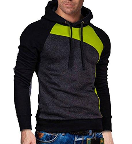 Elonglin Homme Sweats à Capuche Sweat-Shirts Couleur Contraste Noir Vert Gris Foncé FR S (Asie L)
