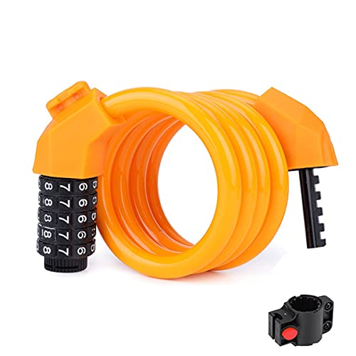 UFFD Bike Lock Bicycle Lock Chain ,5-Digit Combination Lock Core Steel Wire Bike Lock Security&Portable Bicycle Locks,1200mm 11mm (Color : Orange)