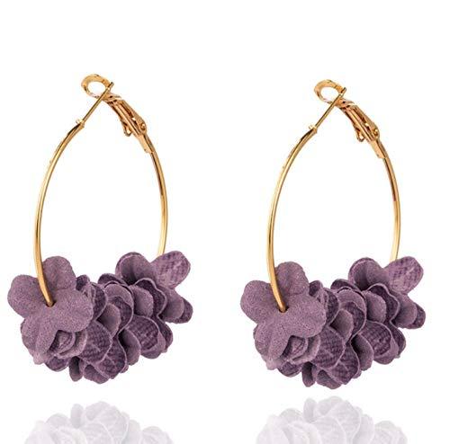 honnhoy Kreis Runde mit Papierblumen Creolen für Frauen Weibliche Hochzeit Ohrringe Schmuck Zubehör @ lila