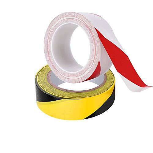 2 Pcs Cinta de Advertencia, Cinta Antideslizante, Cinta de advertencia de Peligro, Cinta adhesiva de adhesivo, Cinta de señalización - 33 M x 50 mm - Negro/Amarillo, Blanco/Rojo