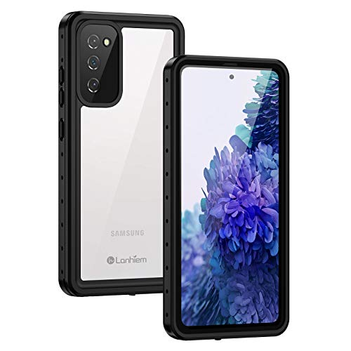 Lanhiem Samsung Galaxy S20 FE Case, IP68 Waterproof Dustproof Case with Built-in Screen Protector, Full Body Heavy Duty Shockproof Protective Clear Cover for Samsung S20 FE 5G 6.5 Inch (Black)