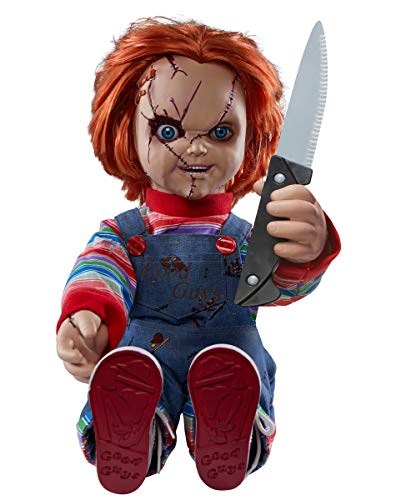 Spirit Halloween 2 Ft Talking Chucky Doll Decoration | Officially Licensed… (2019 Edition)