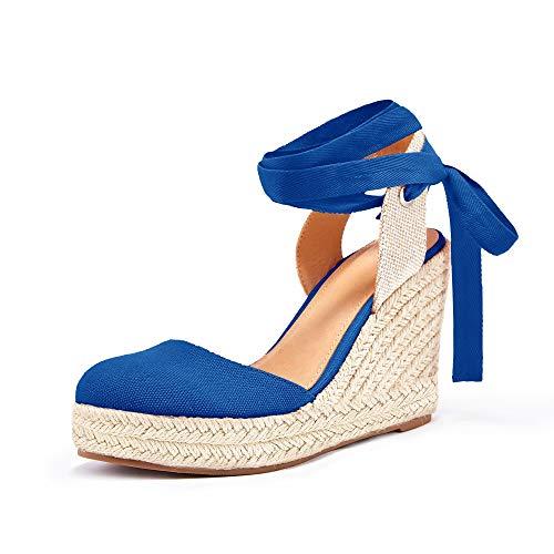 Ermonn Womens Espadrille Platform Wedge Shoes Closed Toe Lace Up Ankle Strap Sandals Blue