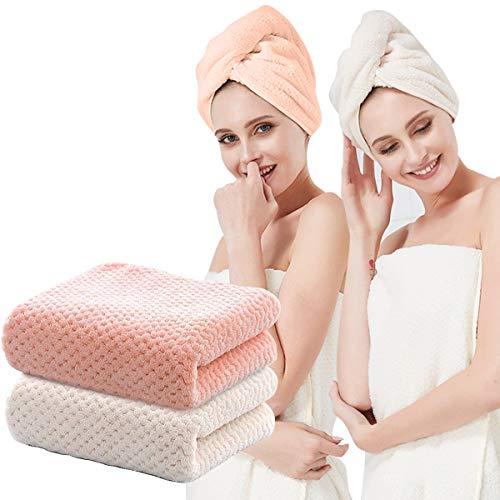 O³ Toallas turbantes de microfibra // 2 unidades – Rosa + Blanco // Toallas de pelo con botón de secado rápido // Toallas para envolver el cabello