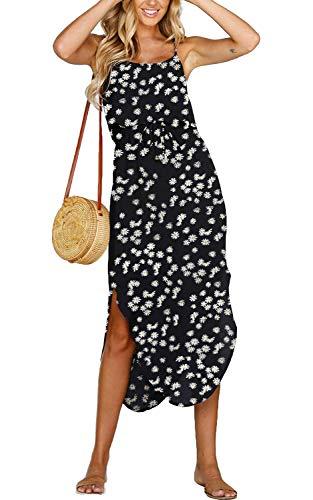 Yidarton Women's Summer Casual Dress Adjustable Strappy Split Floral Midi Beach Dress (C-Purple Dress, X-Large)