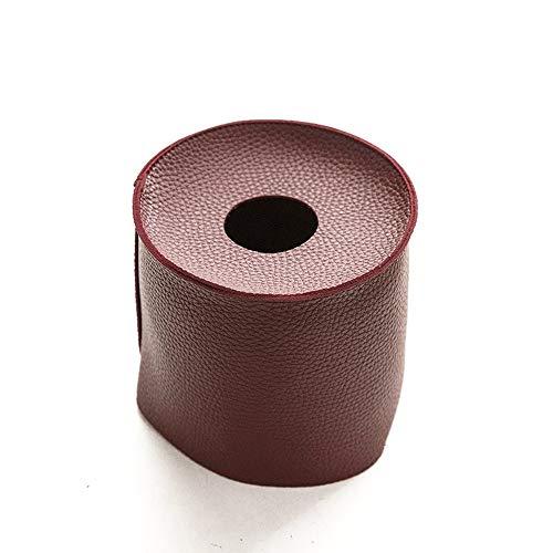 YuanBo Wu PU Cuero Resistente al Agua de baño Ronda Rollo de Papel de Tejido Caja de Almacenamiento de Cocina Cubierta de la Caja Caja de Accesorios (Color : Vino Rojo, Size : 1)