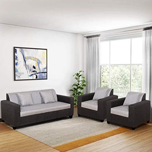 Furny Astiano 5 Seater 3+1+1 Fabric Sofa Set (Grey-Black) with 36 Density Foam | Best Sofa Set for Living Room