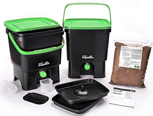 Best Deals! Bokashi Organico Dual System- Sustainable and innovative organic waste bin (Black/Green)