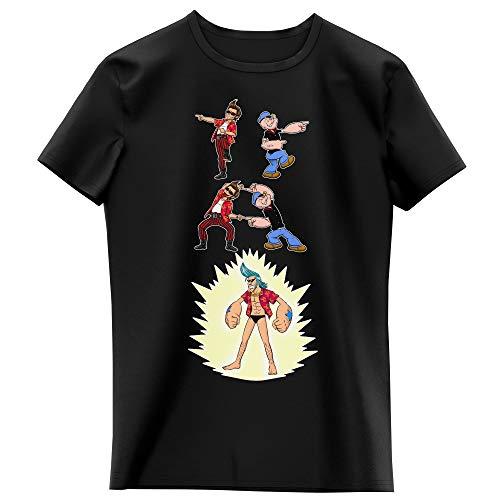 T-Shirt Enfant Fille Noir Parodie One Piece - Popeye - Franky, Ace Ventura et Popeye - Fusion YAHAAAAA !!! (Super Splendide :) (T-Shirt Enfant de qualité Premium de Taille 13-14 Ans - imprimé en FRA