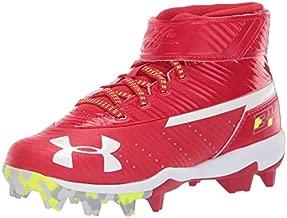Under Armour Boys' Harper 3 Mid Jr. RM Baseball Shoe, Red (600)/White, 1.5
