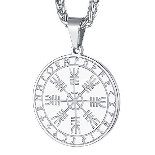 FaithHeart Casco Awe Símbolos Insignias Collar Amuleto de Protección Metálico Acero Inoxidable...
