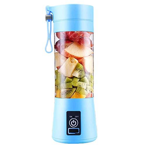 Aishtec Mini Licuadora Portátil Batidora Portátil Personal para Batidos y Smoothies - con 6 Cuchillas 3D y Vaso Exprimidor de 380 ml 4000 mAh Recargable por USB - Color aleatorio (Azul o Verde)