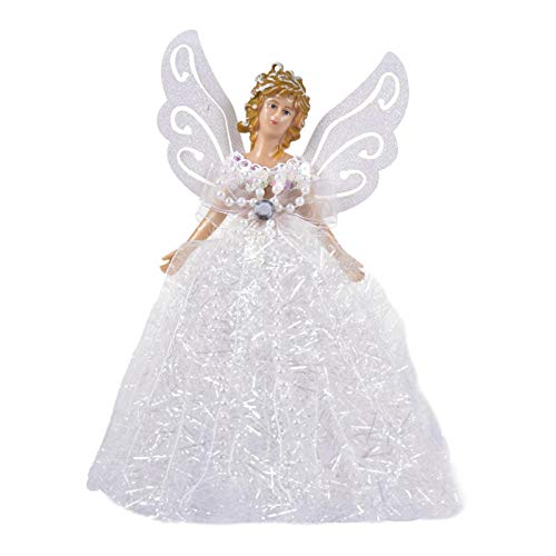 luminiu Fairy Angel Ornaments Christmas Tree Topper 22CM, Fabric Angel Pendant Doll Christmas Tree Decoration With Feather Wings, Enjoy Youselves Tree Top Angel