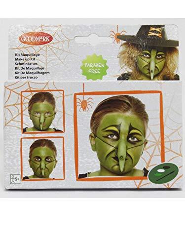 COOLMP – Juego de 6 Kit de Maquillaje de Bruja para niños de Halloween – Talla única – Maquillaje de Fiesta, Pelo, Piel, Labios, Ojos, Carnaval, Fiesta de Disfraces, cumpleaños,