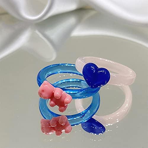 SPACELQ 2 PCS Anillos de Oso de corazón Multicolor para Mujeres Conjuntos de Joyas Y2K 90s Vintage Harajuku Anillos de acrílico de Caramelo Lindo Brillante Estética Nueva