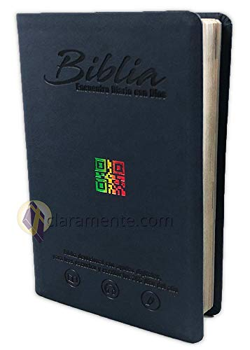 Diario Bíblico Impreso y Digital, Encuentro con Dios con QR, Reina-Valera Contemporánea, imitacion piel azul oscuro