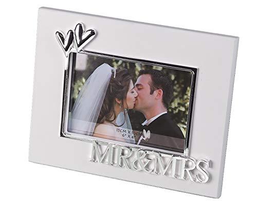 Casablanca - Fotorahmen MR&MRS aus MDF - weiß mit Metallverzierungen in Herzform und Schriftzug MR&MRS Format 10 x 15 cm zum Stellen
