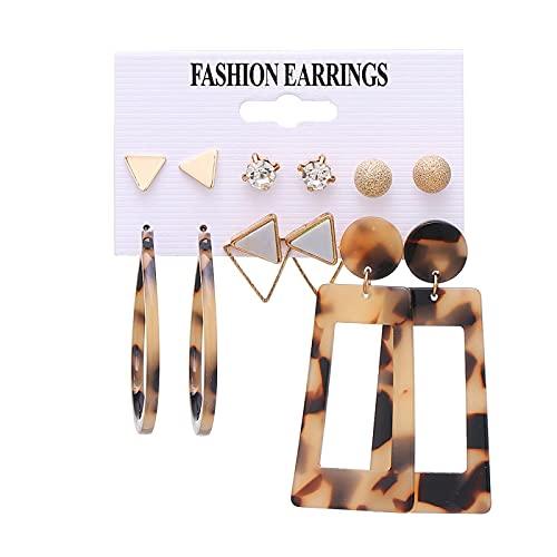 FEARRIN Pendientes de Moda Geometría Inusual Conjunto de Pendientes de Oro para Mujer Pendiente de Gota de Flor de acrílico Pendientes de círculo geométrico Vintage Joyería H65-K383-11