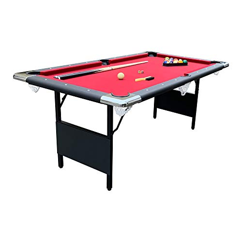 Hathaway Fairmont Portable 6-Ft Pool Table for Families with Easy Folding for Storage, Includes Balls, Cues, Chalk (Red)