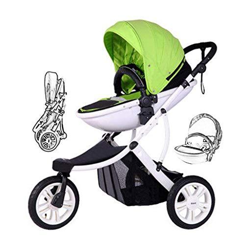 Best Bargain Panpancc 3-Wheel Baby Stroller, One-Foot Double Brake Stroller. Foldable, When Sitting ...