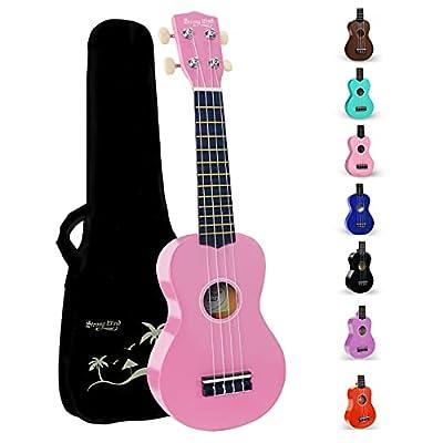 Strong Wind Soprano Ukulele 21 inch Beginner Uke Hawaii Kids Guitar With Gig Bag For Kids Beginners Students (Pink)