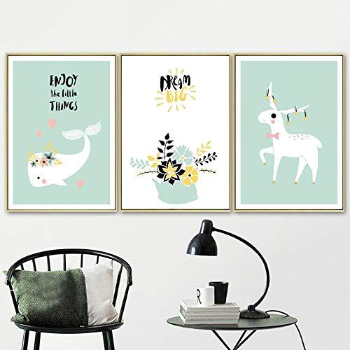 Sun Star Moon Good Morning Nordic Carteles e impresiones Arte de la pared Lienzo Pintura Nursery Wall Pictures Baby Girl Boy Room Decor Frameless