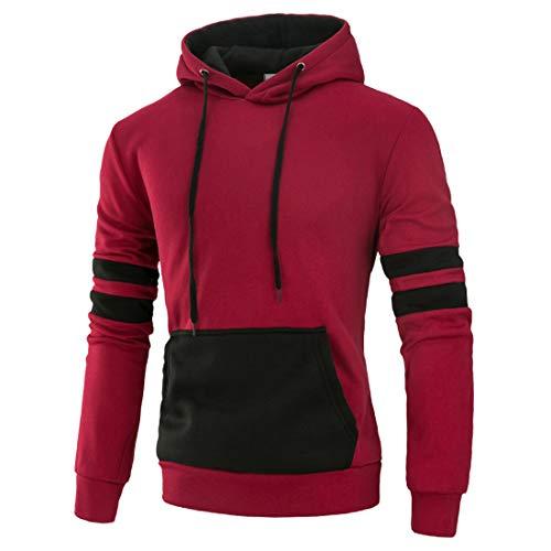 Sweatshirt Herren Hoodie Herren Casual Sporty Style Mode Kordelzug Slim Fit Herren Sweatshirt Herbst Neues Kangaroo Pocket Cotton Blend Langarm Herren Hoodie C-Red XL
