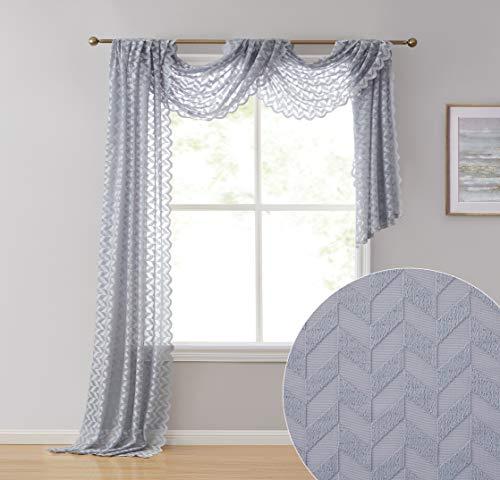 "HLC.ME Herringbone Lace Semi Sheer Window Curtain Swag Scarf - 38"" W x 216"" L Inch (Silver Grey)"