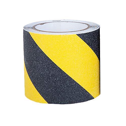 Cinta antideslizante de tracción, mejor agarre, fricción, adhesivo abrasivo para escaleras, seguridad, escalones de rodadura, interiores, 15.2 cm x 3.2 m, exterior (6 pulgadas, amarillo+negro)