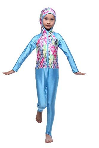 GladThink meisjes een stuk moslim Burkini badpak met pet en lange mouwen