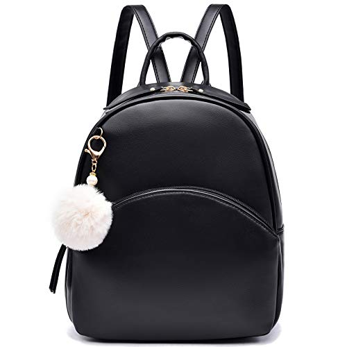 I IHAYNER Backpack Girls Women Ladies Small PU Cute Hairball Rucksack School Bag Purse Black