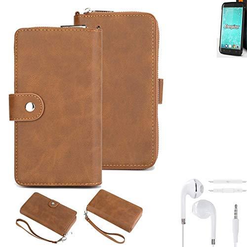 K-S-Trade® Handy-Schutz-Hülle Für Energizer H550S + Kopfhörer Portemonnee Tasche Wallet-Case Bookstyle-Etui Braun (1x)