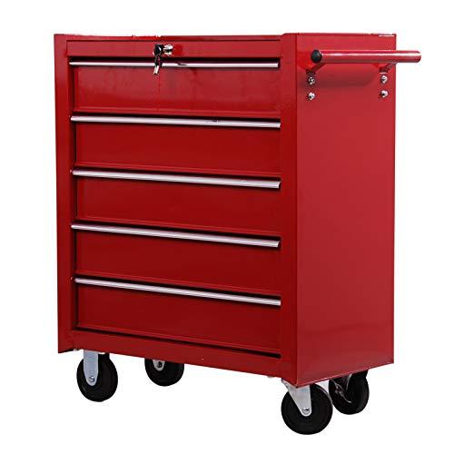 HOMCOM Carro Caja de Herramientas Taller movil con 5 cajones 4 Ruedas Chapa de Acero Rojo
