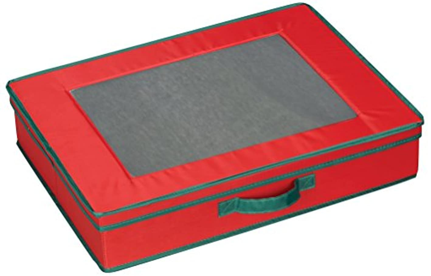 Household Essentials 545 Holiday Vision Storage Box with Lid and Handles | Tabletop Linen Storage Set | Red Canvas with Green Trim