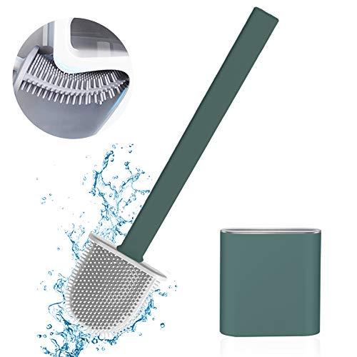Toilettenbürste Set WC Bürste Silikon,Silikon-Toilettenreinigungsbürsten-Kit,Silicone Flex Toilet Brush,Klobürste Silikon,mit Halter Schnell Trocknendem WC-Garnitur,für Badezimmer oder Gäste-WC (Grün)