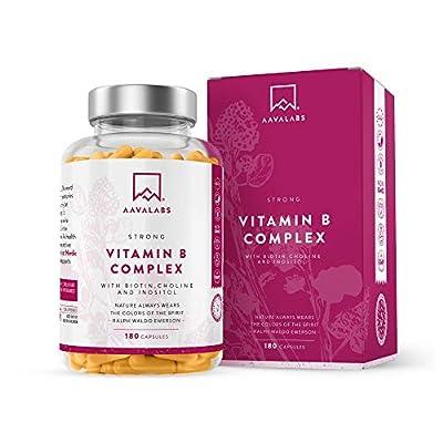 Vitamin B Complex High Strength Capsules - Includes Essential Multi B-Vitamins B12, B6, B3, B5, Biotin, Folate and Niacin - 1 Capsule Daily (180 Capsule Supply) - 100% Vegan