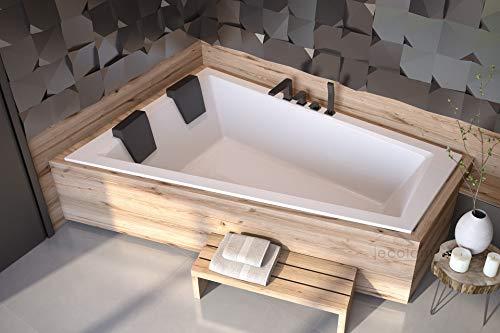 ECOLAM Badewanne Intima Duo Slim Eckwanne für Zwei 180x125 cm LINKS + 2x Kopfstütze Ab- und Überlauf Automatik Füße Silikon - PERFEKT FÜR ZWEI PERSONEN
