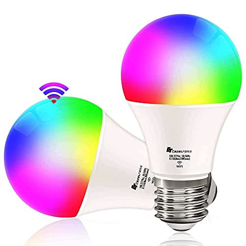 Smart WiFi LED Light Bulbs, Work with Alexa Echo Dot, Google Home(No Hub Required), RGBW Color Changing Light Bulbs, A19 E26, 8W 800Lumens, Equivalent 60W, Dimmable, 2.4Ghz only, 2 Pack CT CAPETRONIX
